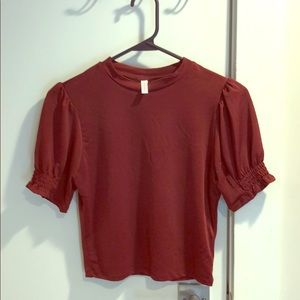 Maroon Top, Size small, cropped, fall shirt